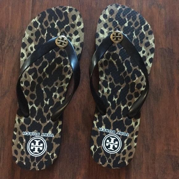 6f826d7f2da3a1 Tory Burch Flip Flops Cheetah Black Brown size 9
